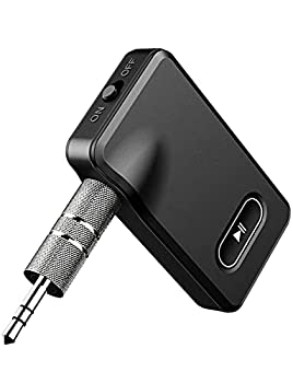 Upgraded Bluetooth 5.0 Receiver Bluetooth Aux Adapter for Car/Home Stereo System/Wired Headphones Bluetooth Car Adapter for Hands Free Call 15H Battery Life Slide Switch for Easy to Use