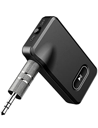 Bluetooth 5.0 Empfänger, Drahtloser Aux Bluetooth Audio-Adapter, mit Freisprechanrufen, Dual Verbindung, 3,5mm Aux Bluetooth Kfz Adapter für Auto, Heimstereosysteme Musik Streaming