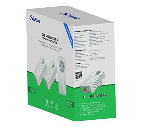 STRONG Powerline 500 Triple Netzwerkadapter 3er-Set (3 Powerlan Adapter, bis 500 Mbit/S, LAN Netzwerk aus der Steckdose, Fast-Ethernet-LAN) Weiß