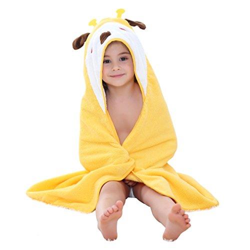 MICHLEY Baby Kapuzenbadetuch Kinder Mädchen Bademantel 90x90cm Baumwolle Tier Badetücher fit für 0-6 Jahre (Giraffe)