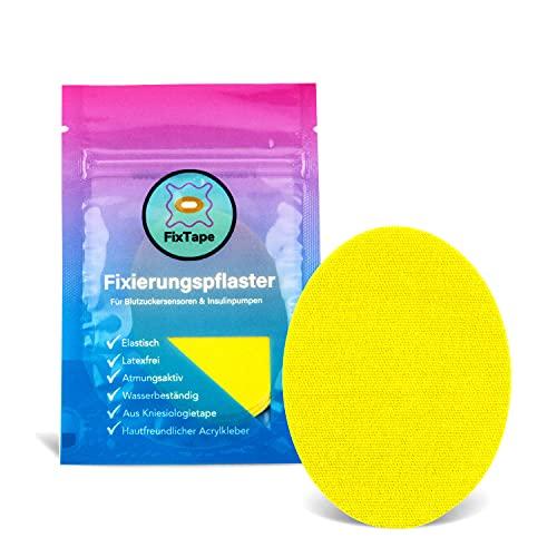 FixTape atmungsaktive Sensor-Tapes für Freestyle Libre 1 & 2 I selbstklebende Over-Tapes für Glukose-Sensor I Schutz-Patch mit hohem Trage-Komfort I hautfreundlich wasserfest I 7 Stück (Gelb)