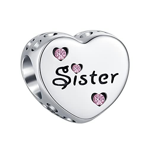 TIZU Charms Sorella in Argento 925 a Forma di Cuore Charm Famiglia Sister Compatibili Pandora Bracciale