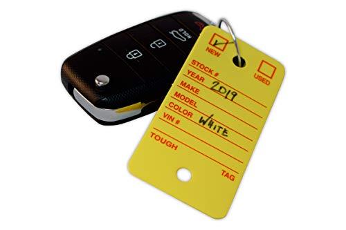 Poly Key Tag, Car Key Tag, 500 per Box, with Rings and Pens Tough (Survivor) (Yellow) Photo #3
