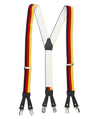 shenky Sexy Hosenträger 6 Klips hochwertige Lederriemen Leder XXL Made in Germany Clips Schwarz Neon Farben Muster Bayern Oktoberfest Fasching Stripper (Deutschland)