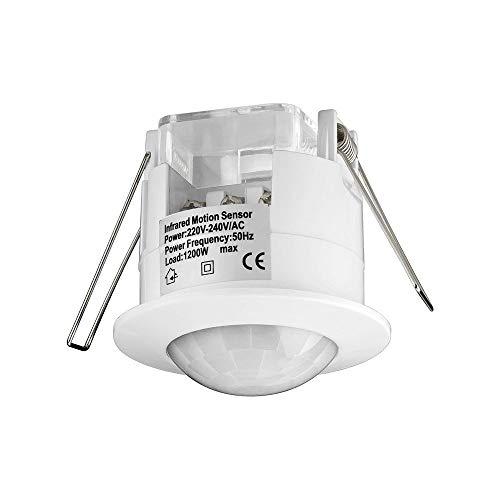 Goobay 95173 IDU Infrarot Bewegungsmelder zur Unterputz Deckenmontage 360° Erfassung, 6m Reichweite, 0.45 W, 230 V, Weiß, 1x