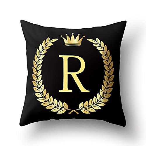 xjm Negro Golden Crown Carta de Navidad Año Nuevo Accesorios de poliéster 43 * 43cm Cubierta del Amortiguador del sofá decoración del hogar de la Funda de Almohada (Color : R)