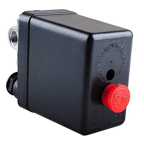 TOCYORIC Compressore a 4 fori, valvola di controllo compressore aria per una rapida riduzione della pressione con interruttore a pressione, 90-120 PSI, AC 220 V 20 A