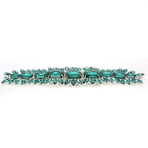 Adornos De Diamantes De Imitación Cadena De Cristal De Varios Colores Para Coser Vestido De Boda Faja Cinturón Bolsas Zapatos Accesorios 2 X 7,9 Pulgadas(Verde esmeralda) ✅