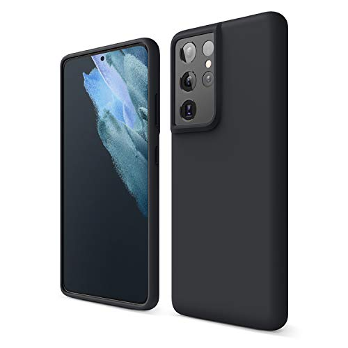 elago Funda de Silicona Líquida Compatible con Samsung Galaxy S21 Ultra Case, Silicona Premium, Protección Cover 3 Estructuras Antigolpes (Negro)