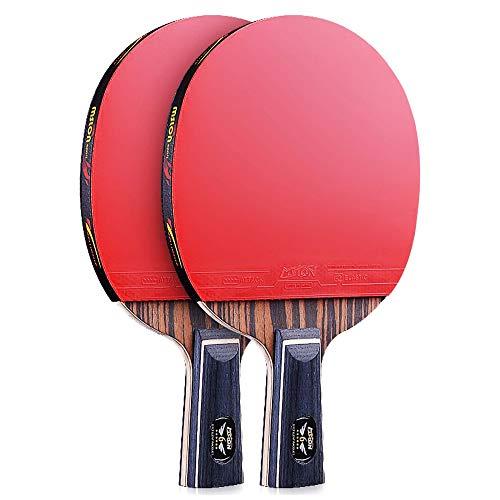 Lerten Raquetas de Tenis de Mesa,Juego Profesional Bate de Tenis de Mesa Avanzada Paleta de 6 Estrellas Mango CóModo,para Interior Exterior Escuela en Casa/A/Mango corto
