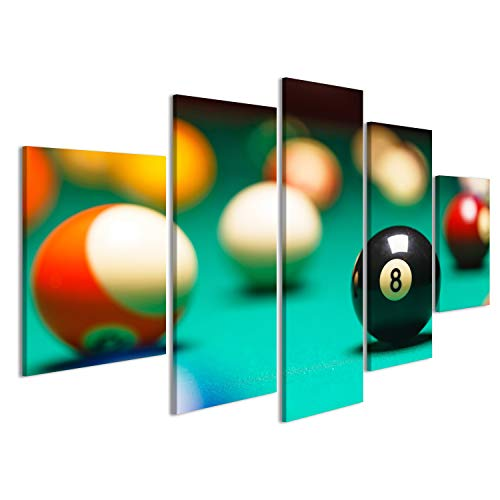 Bild Bilder auf Leinwand Billardkugeln Vintages Artfoto von einem Billiard Tisch Wandbild Leinwandbild Poster