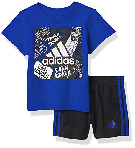 adidas baby boys Graphic Shorts Set, Brite Blu, 9-12 Months US