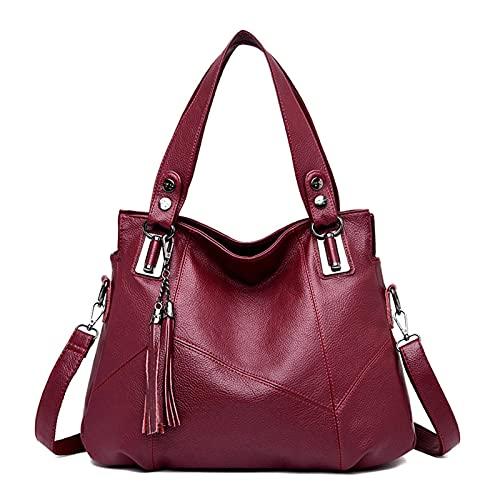 N\C Middle-Aged Mother One-Shoulder Female Bag Stitching Casual Soft Leather Handbag Large-Capacity School Bag