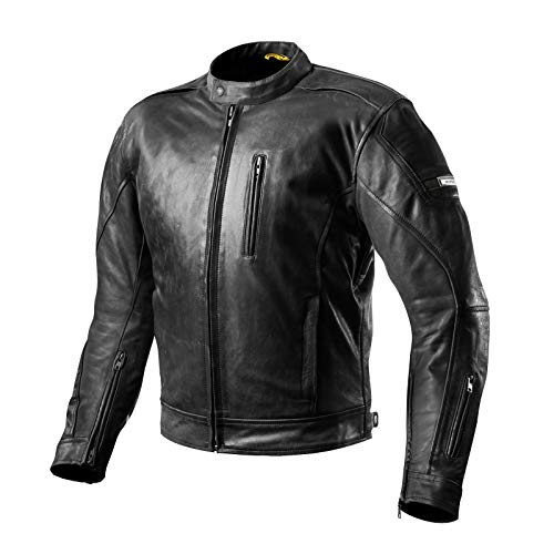 SHIMA Hunter Mens Vintage Leather Motorcycle Jacket With Armor - Black XXL