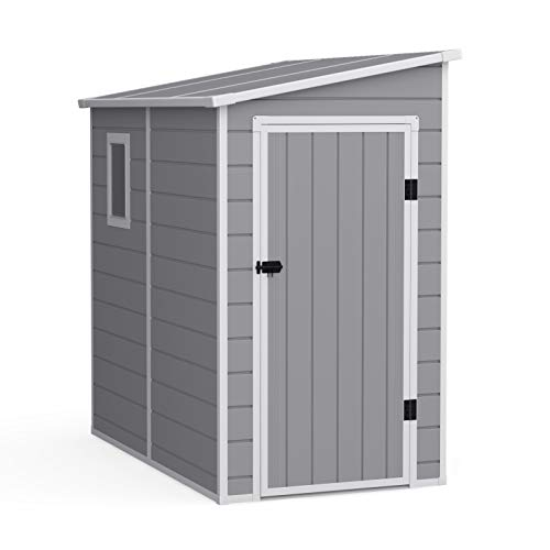 BillyOh Newport Garden Shed: Outdoor Storage, Durable Weatherproof Plastic with Lockable Doors, Light Grey, includes Base (6' x 4')