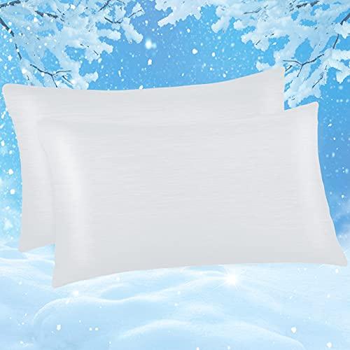 Kissenbezug 40 x 80cm, Marchpower 2er kühlender Kissenhülle 100% Baumwolle, mit Japanische Q-Max>0.43 Arc-Chill Kühlfaser, Superweicher Kopfkissenbezug Haar- und Hautpflege mit Reißverschluss, Weiß