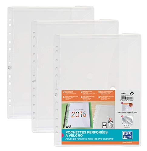 Oxford Dokumenten-Mappen A4, Taschen mit Klett-Verschluss, zum Abheften, farblos, 6er Pack