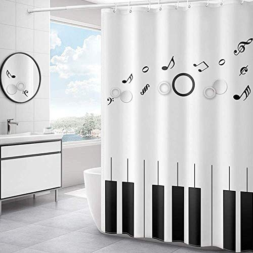 Gordijn Douchegordijn Piano Nota Musical Gedrukt Polyester weefsel Shower Curtain Liner Schimmelbestendig Creative Batnroom douchegordijn Liner for Badkamer (Kleur: Wit, Maat: 120x180cm)