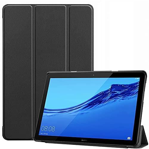 XunyLyee Hülle Kompatibel mit Huawei MediaPad T5, Ultra Dünn mit Standfunktion Schutzhülle Passt für Huawei MediaPad T5 2018 (10.1 Zoll), Schwarz