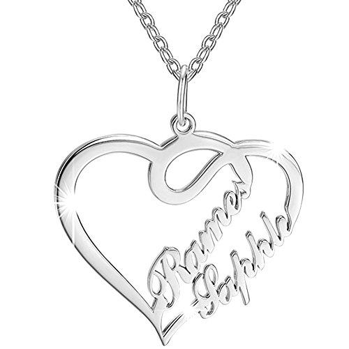 SOUFEEL Collar Plata de Ley Colgante Corazón Mujer con Nombre Regalo para Familia Aniversario Novia Cadena Ajustable