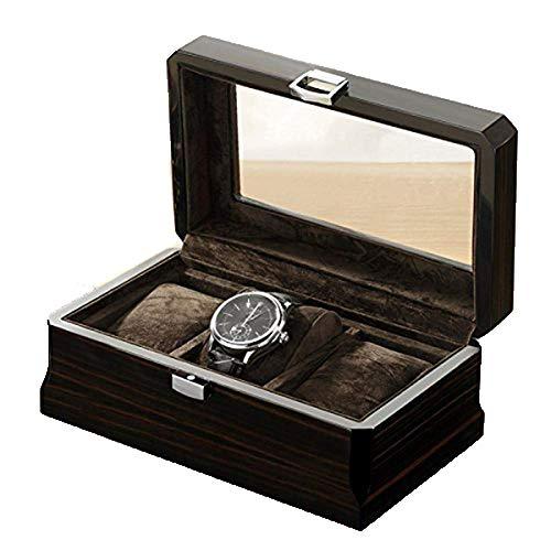 Willow Wooden Watch Box-3 Wide Watch Slots Pear Wood Watch Watch Box Organizador de almacenamiento, regalo de los hombres -Business, caja de almacenamiento de joyería caja de reloj de caja para hombre
