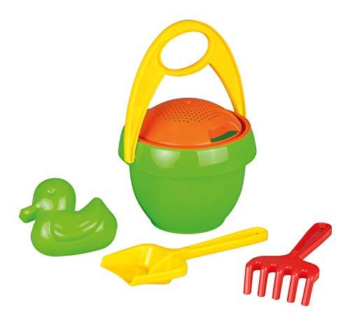 Lena 05323 - Happy Sand Spielset, 5 Teile, Sand und Wasser Spielzeug Set für Kinder ab 2 Jahre, mit Sandeimer, Sieb, Sandförmchen, Sandschaufel und Rechen aus Kunststoff, Sandspielzeug Eimergarnitur