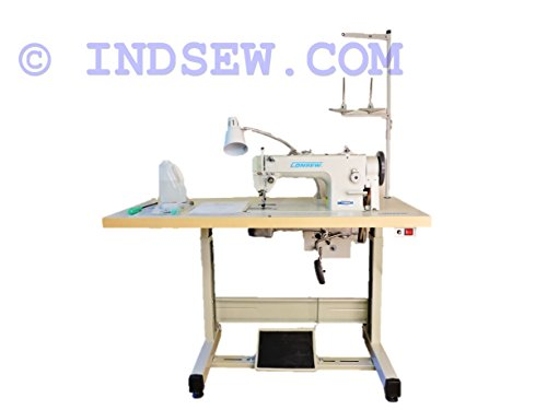 Consew upholstery Walking Foot Industrial Sewing Machine with Table and Servo Motor Drop Feed, Needle Feed, Walking Foot, Lockstitch Machine