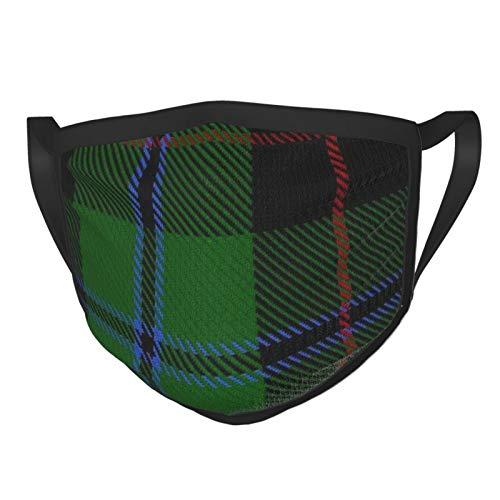 Decams Douglas-Gesichtsmasken mit Ohren, elastisch, Schwarz, Tartan, groß, waschbar, wiederverwendbar, atmungsaktiv, schützend, für Mund- und Nasen-Abdeckung