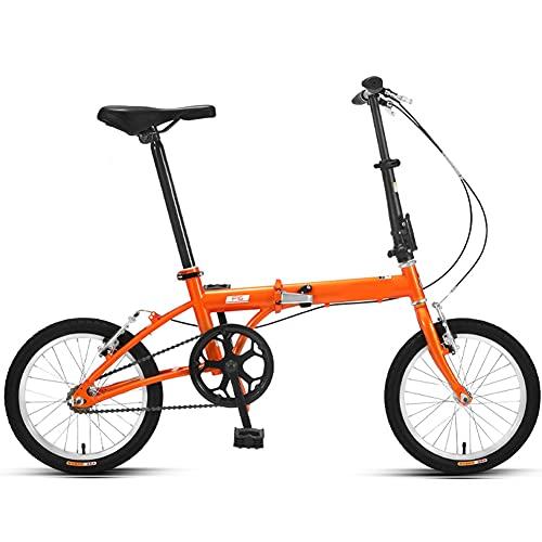 Vélo De Montagne Pliable, 16 Pouces VTT Tout Suspendu, vélo Homme et vélo Femme, Vélo De La Ville pour Femmes/Orange