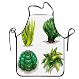 N\A Plantas de Aloe Vera Cactus Rejuvenecedor Curativo Herbal Espinoso Colección Cocina Cocina Restaurante Bar Delantal Delantal Elegante Delantal de Chef Delantal Unisex