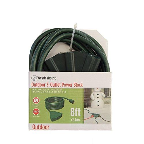 Westinghouse 28374 - Cable de extensión para exteriores (3 salidas, 8 pies), color verde