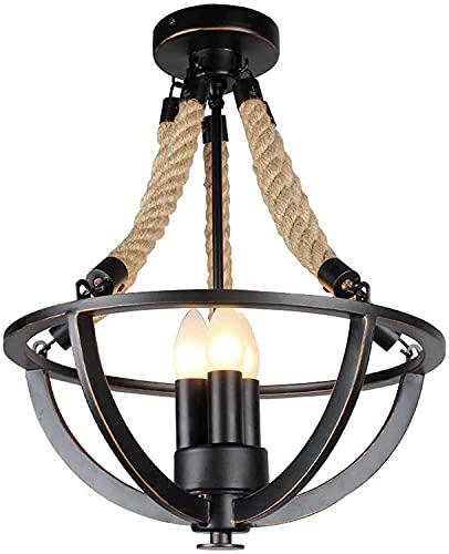PXY Lámpara Colgante de Cuerdas Industriales Retro, Cuerda de Hierro Labrado Moderno Cabezas Triples Araña, Personalidad Creativa Colgante Luminos Sala de Estar Dormitorio Restaurante Tienda Bar