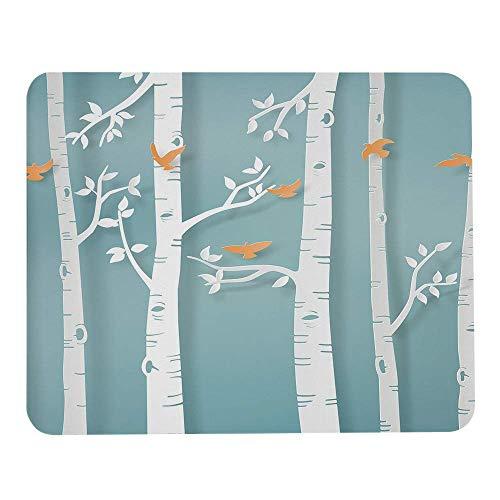 Orange Vögel Mauspads Wintersaison Vögel fliegen im Birkenwald weiß hellblau Mauspad angepasste Rechteck rutschfeste Gummi-Gaming-Mausmatte