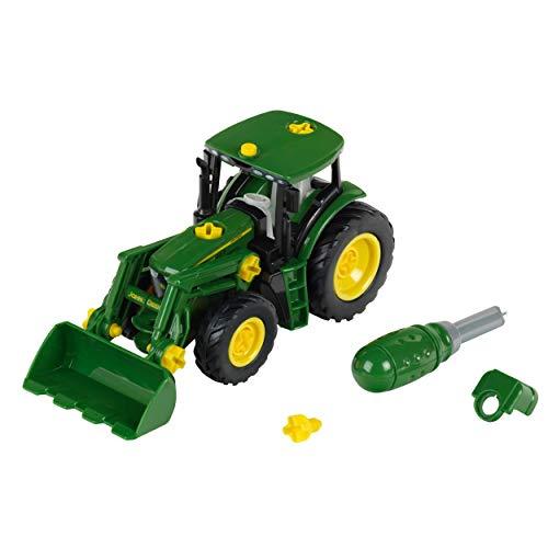 Theo Klein 3903 Tractor John Deere, Con cargador frontal y contrapeso, Desmontable en piezas individuales, Medidas: 24.5 cm x 9.5 cm x 12 cm, Juguete para niños a partir de 3 años