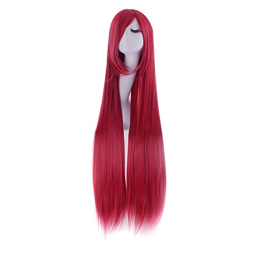 MapofBeauty 100cm/ 39 Pollice Medio Lisci Donna Lisci Parrucche (Scuro Rosso)
