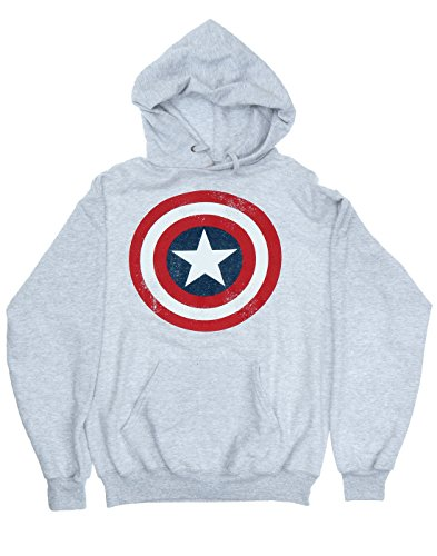 Marvel Mujer Captain America Distressed Shield Capucha X-Large Cuero Gris