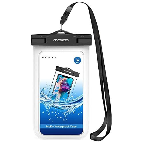 MoKo Funda Impermeable - Waterproof Brazo y Cuello Compatible para iPhone XS/XS MAX/XR Galaxy S7/ S7 Edge/ P7 P8 P9 y Smartphone 5.7 Pulgadas - IPX8 Certificado, Blanco
