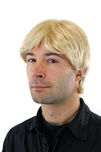 Perruque pour homme, courte avec raie, blond/blond platine GFW355A-613E