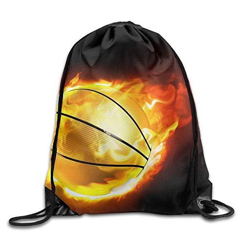 Etryrt Prämie Turnbeutel/Sportbeutel, Basketball Fire Sport Unisex Home Rucksack Shoulder Bag Travel Drawstring Backpack Bag