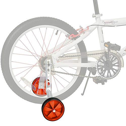 JUEYAN® 1 Par Ruedines para Bicicleta Infantil Universal Seguridad ruedines para Equilibrio de Bicicleta Estabilizador Ajustable de Ruedas Laterales de Entrenamiento para Niños,12–20 pulgadas,Naranjas