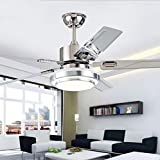 YBCD Araña LED de Hoja de Madera/luz de Ventilador de Acero Inoxidable/luz de Ventilador de Techo de Restaurante de 42 Pulgadas / 52 Pulgadas/luz de Ventilador de Sala de Estar-Stainless steel-106CM