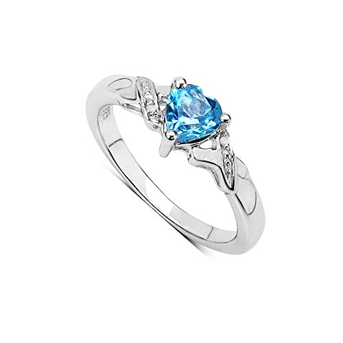 The Blue Topaz Ring Collection: Beautiful Sterling Silver Small Heart Shaped Swiss Blue Topaz Engagement Ring & Diamond Set Shoulders (Size P)