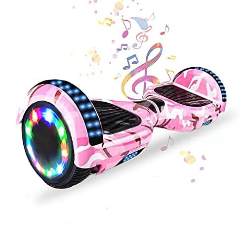 HST 6,5 Zoll Hoverboard Self-Balancing Scooters Elektroroller mit Bluetooth und LED-Beleuchtung, Offroad Waveboard für Kinder und Erwachsene (Tarnung Rosa)