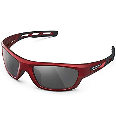 TOREGE Polarized Sports Sunglasses for Man Women Cycling Running Fishing Golf TR90 Unbreakable Frame TR07 Steath Man (Red&Black&Grey Lens)