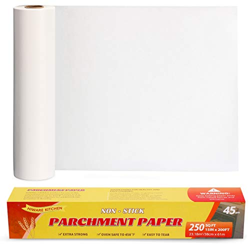 Hiware Parchment Paper for Baking, 15 in x 200 ft, 250 Sq.Ft, Baking Paper, Non-Stick Parchment Paper Roll for Baking, Cooking, Grilling, Air Fryer and Steaming
