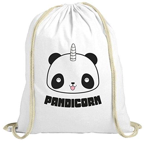 ShirtStreet Unicorn Panda natur Turnbeutel mit Pandicorn Motiv, Größe: onesize,weiß natur