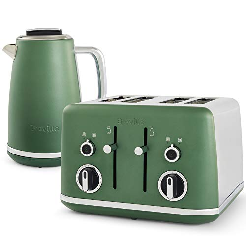 Breville Lustra Kettle and Toaster Set | 1.7 Litre Electric Kettle | 4 Slice Toaster with Wide Slots and Independent 2-Slice Controls | Matt Green [VKT200 and VTT992]