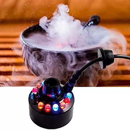 LEMORTH Mini Fabricante de Niebla, Estanque Fountain Fountain Máquina de Niebla Atomizador Humidificador de Aire, humidificador de Aire, Mistola de la máquina Cambiando 12 DIRIGIÓ Luces de Niebla