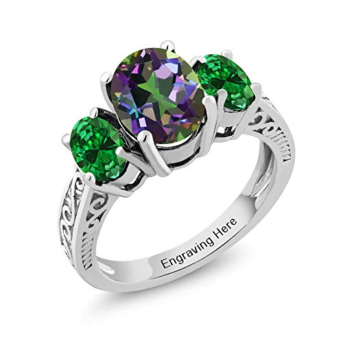 Gem Stone King 925 Sterling Silver Build Your Own Personalized Engraved Promise Love Birthstone Fashion Mothers Name 3-Stone Women's Ring (Size 6)