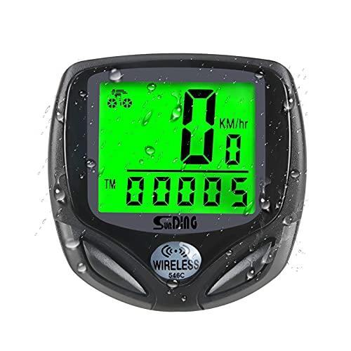 opamoo Cuentakilómetros Bicicleta 16 Funciones Velocímetro Bicicleta Inalámbrico Impermeable Velocímetro Inalámbrico con Impermeable LCD Pantalla para El Ciclo Al Aire Libre Velocidad(Negro)